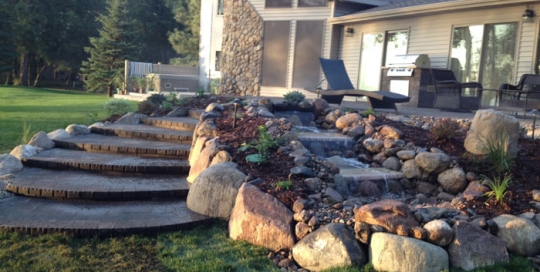 3 Tiered Water Feature Attached To Patio
